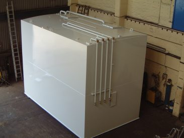 A self bunded fuel tank designed for four pumps and two grades of fuel.