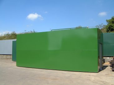 A self bunded fuel tank with cabinet and roller shutter door.